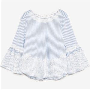 Zara Blue and White Striped Blouse